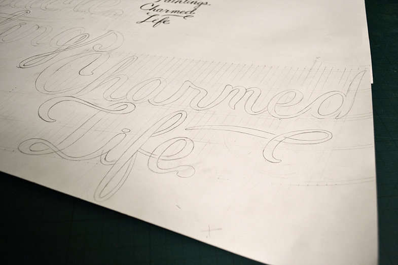 Pencil drawing of Charmed LIfe lettering